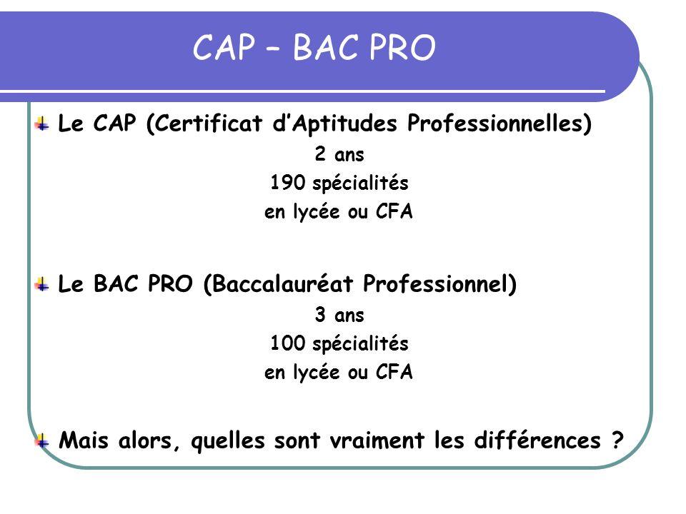 CAP – BAC PRO Le CAP (Certificat d'Aptitudes Professionnelles)
