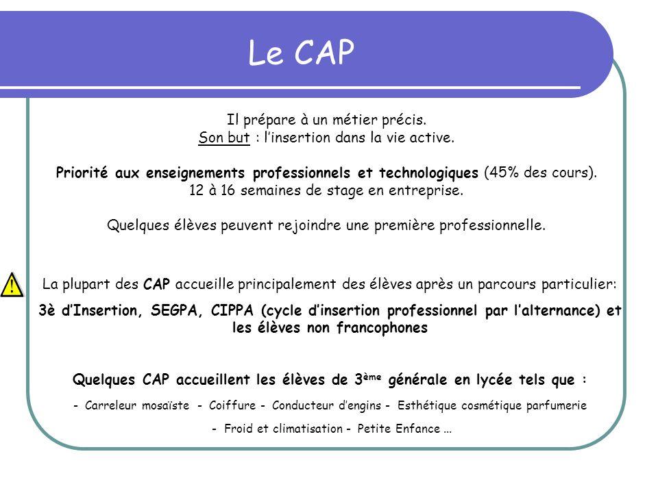 Le CAP Il prépare à un métier précis. Son but : l'insertion dans la vie active.