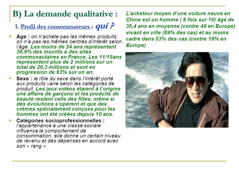 B) La demande qualitative : 1. Profil des consommateurs : qui