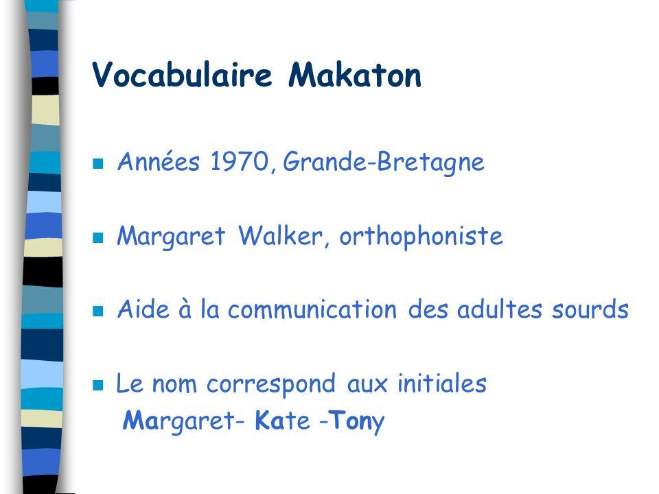 Vocabulaire Makaton Années 1970, Grande-Bretagne