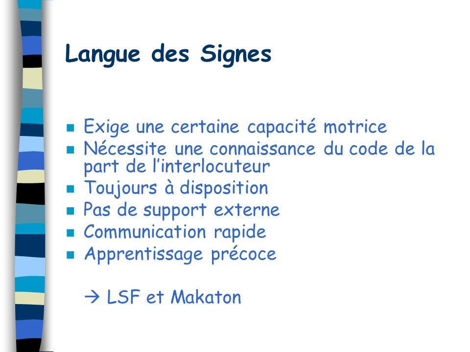 Langue des Signes Exige une certaine capacité motrice