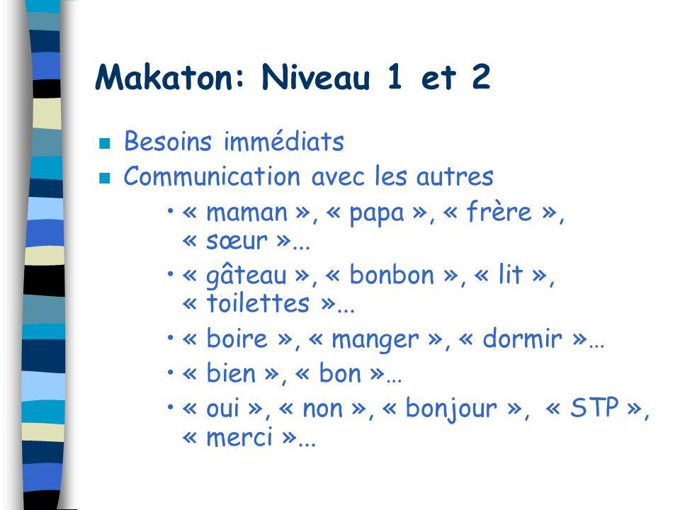 Makaton: Niveau 1 et 2 Besoins immédiats Communication avec les autres
