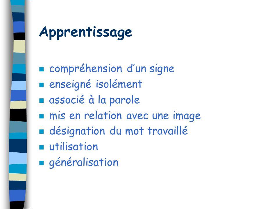 Apprentissage compréhension d'un signe enseigné isolément