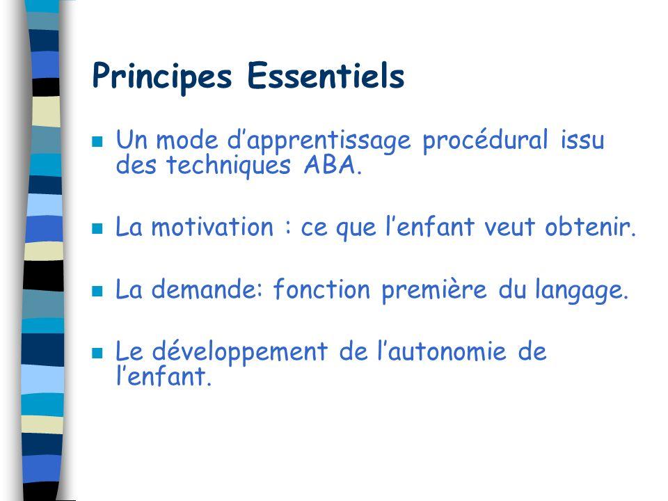 Principes Essentiels Un mode d'apprentissage procédural issu des techniques ABA. La motivation : ce que l'enfant veut obtenir.