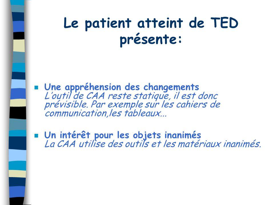 Le patient atteint de TED présente: