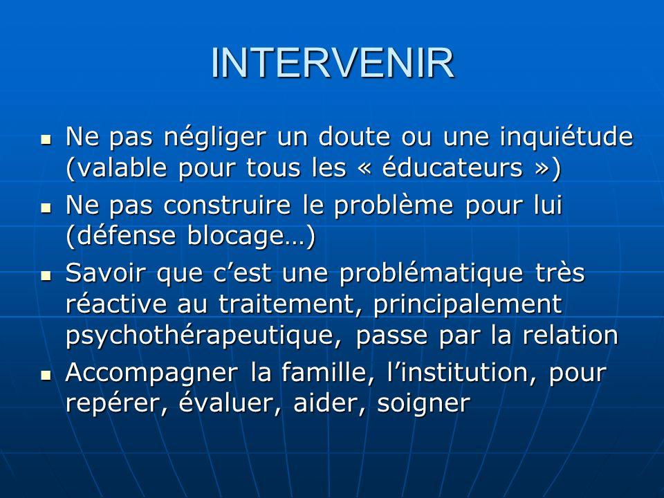 INTERVENIR Ne pas négliger un doute ou une inquiétude (valable pour tous les « éducateurs »)