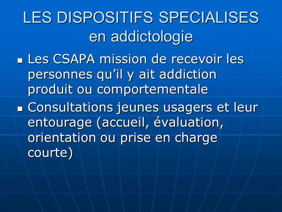 LES DISPOSITIFS SPECIALISES en addictologie