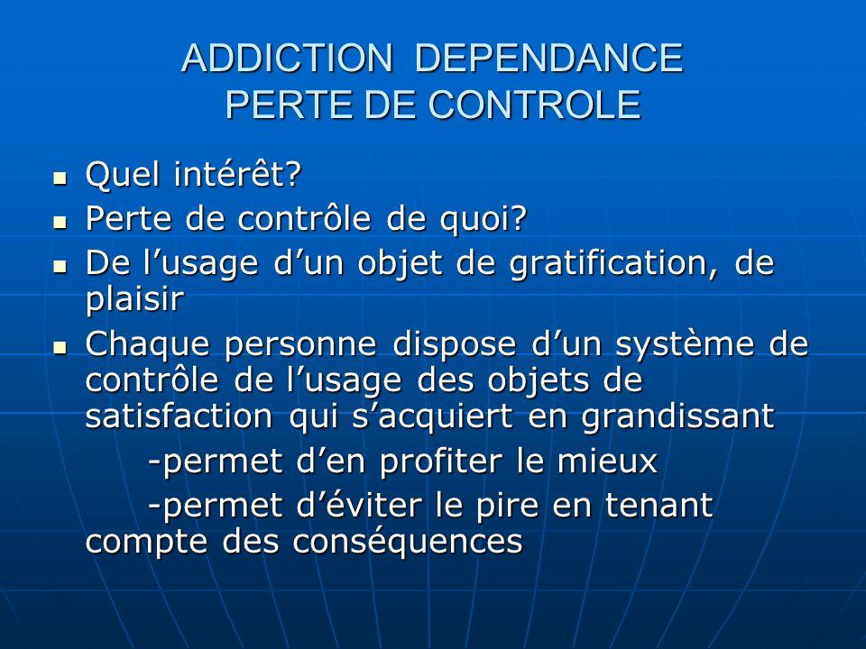 ADDICTION DEPENDANCE PERTE DE CONTROLE