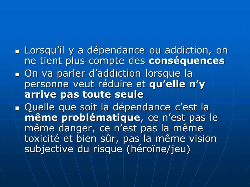 Lorsqu'il y a dépendance ou addiction, on ne tient plus compte des conséquences