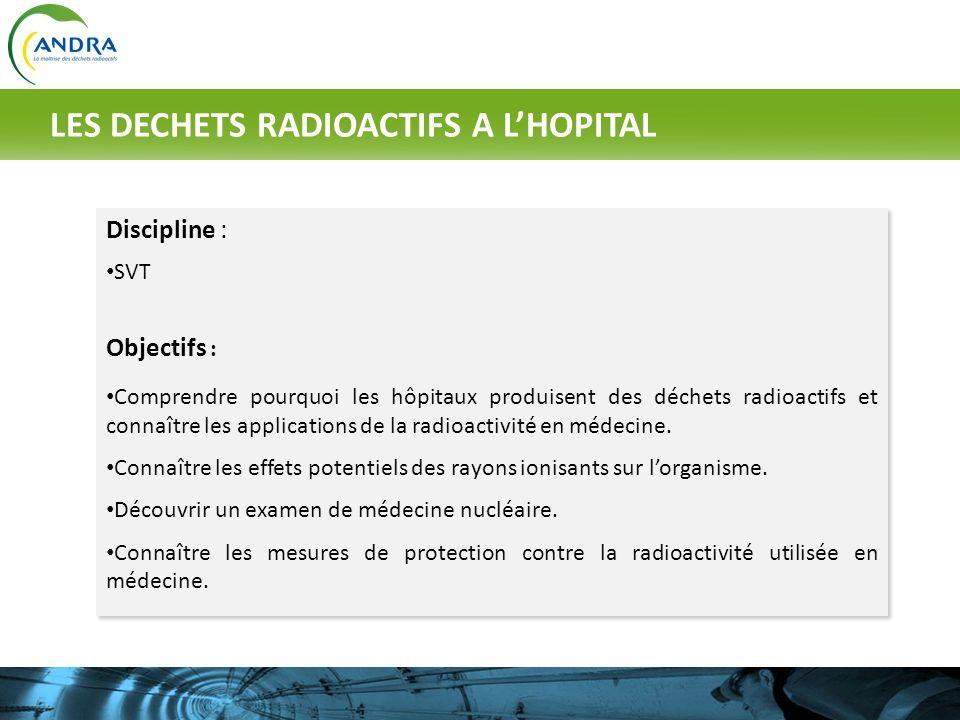 LES DECHETS RADIOACTIFS A L'HOPITAL