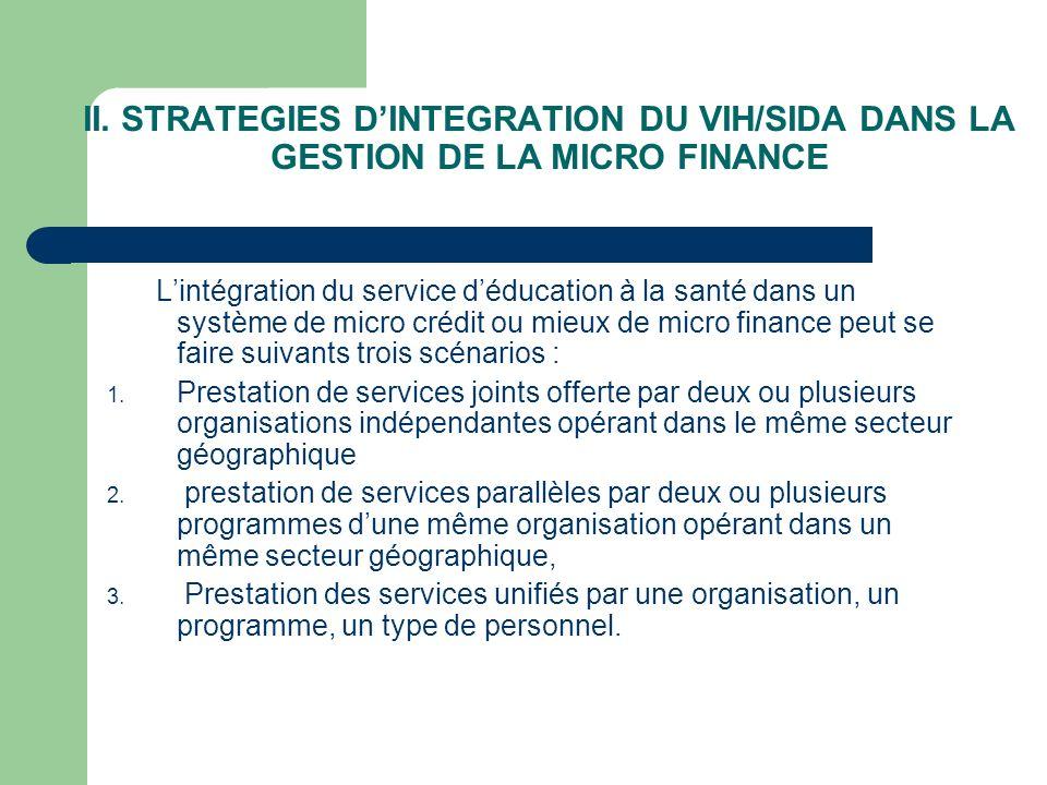 II. STRATEGIES D'INTEGRATION DU VIH/SIDA DANS LA GESTION DE LA MICRO FINANCE