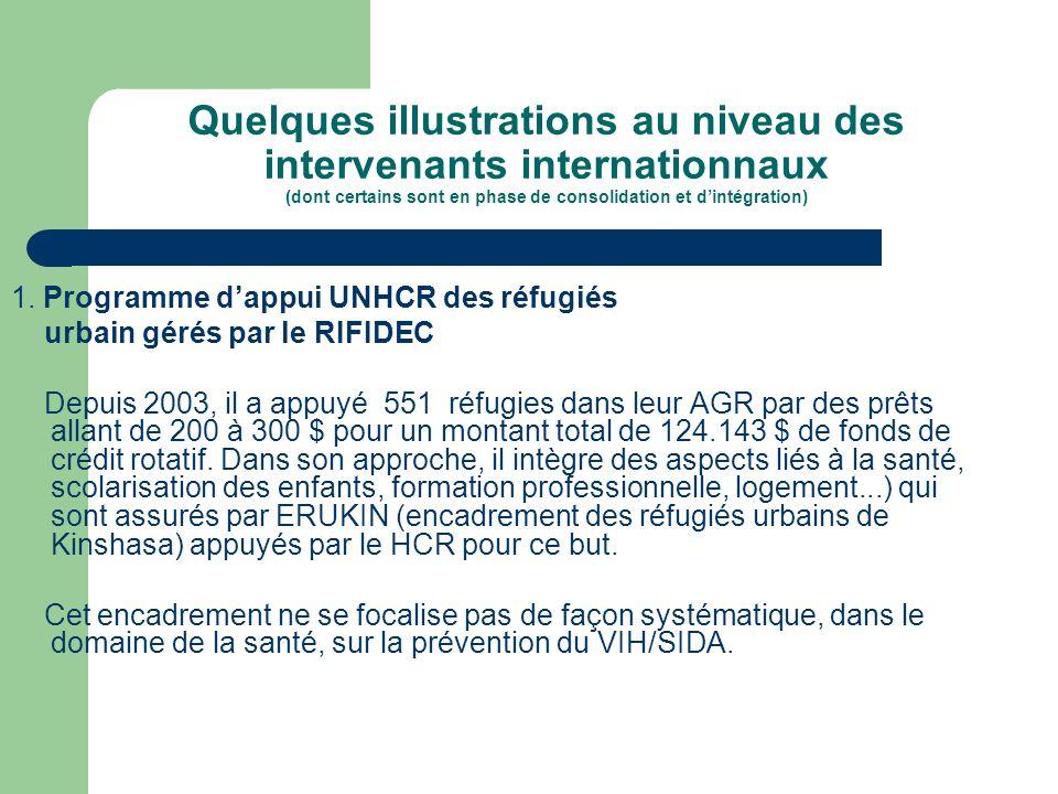 Quelques illustrations au niveau des intervenants internationnaux (dont certains sont en phase de consolidation et d'intégration)