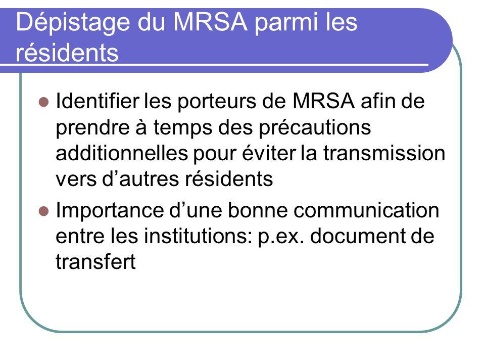 Dépistage du MRSA parmi les résidents