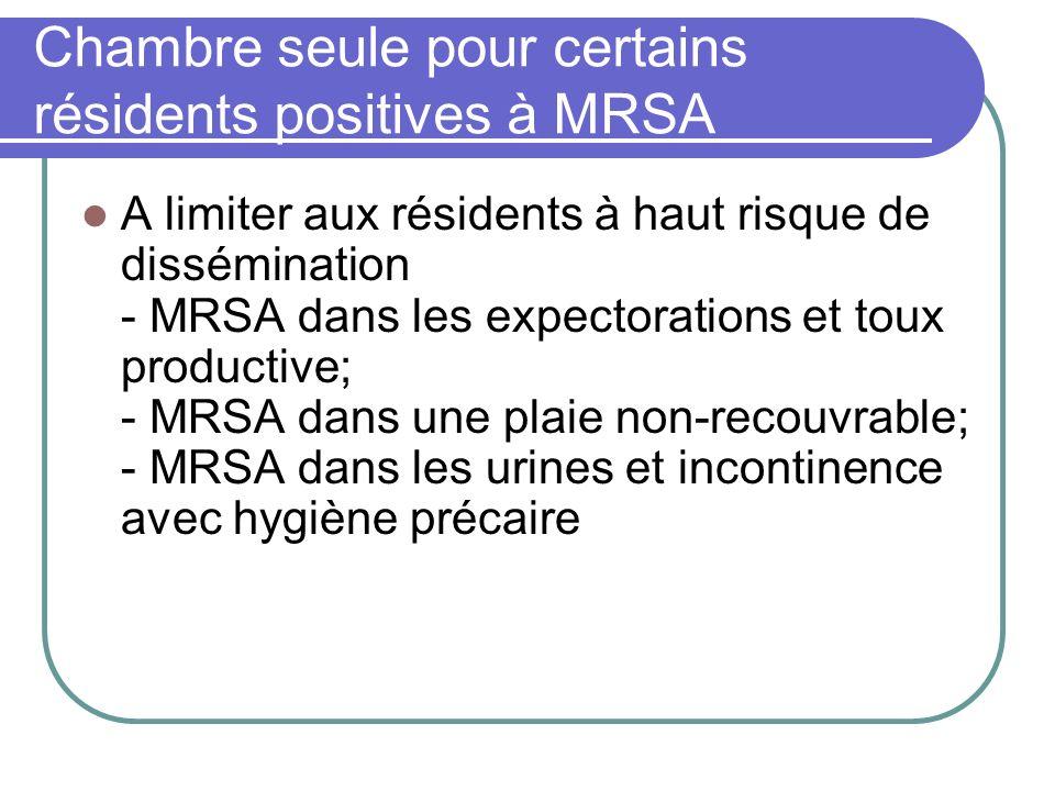 Chambre seule pour certains résidents positives à MRSA