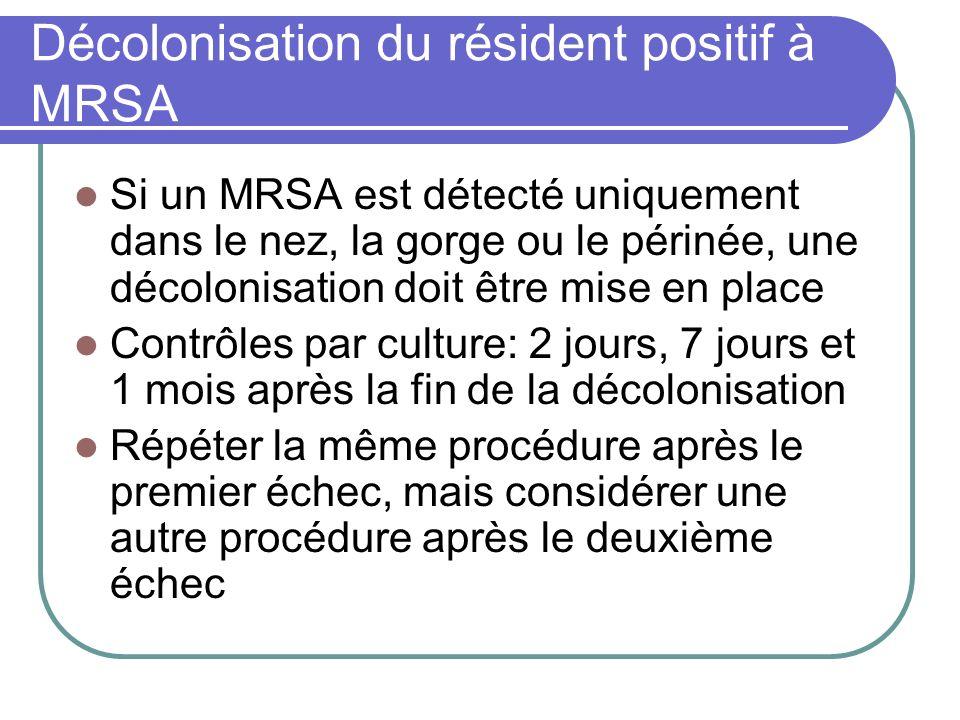 Décolonisation du résident positif à MRSA