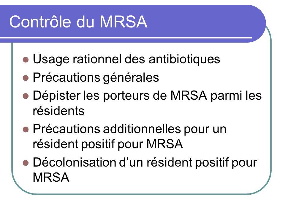 Contrôle du MRSA Usage rationnel des antibiotiques