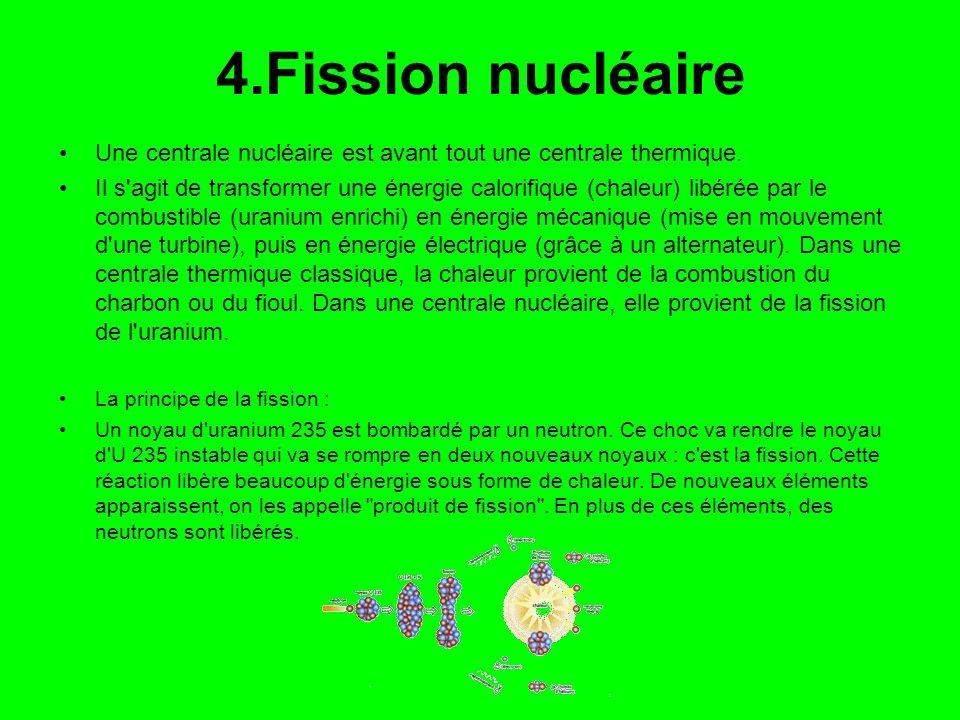 4.Fission nucléaire Une centrale nucléaire est avant tout une centrale thermique.