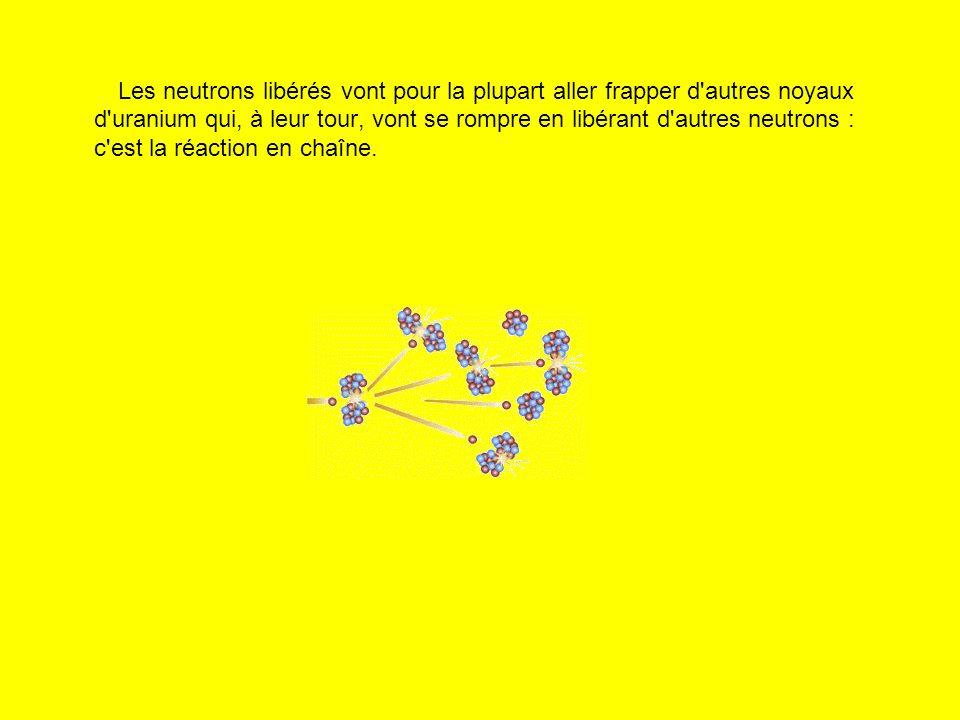 Les neutrons libérés vont pour la plupart aller frapper d autres noyaux d uranium qui, à leur tour, vont se rompre en libérant d autres neutrons : c est la réaction en chaîne.