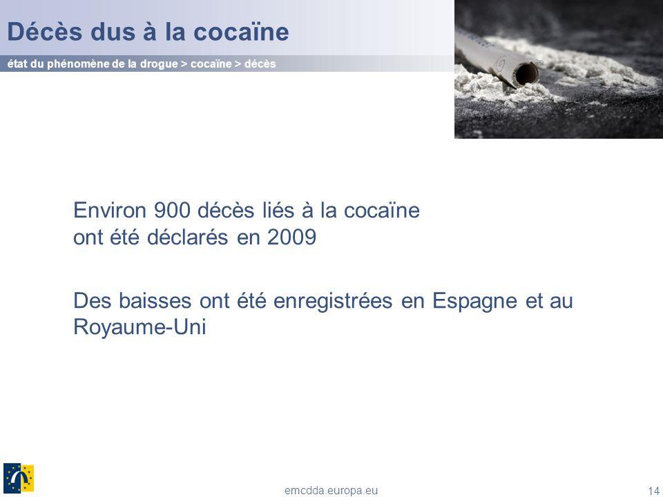 Décès dus à la cocaïne état du phénomène de la drogue > cocaïne > décès. Environ 900 décès liés à la cocaïne ont été déclarés en 2009.