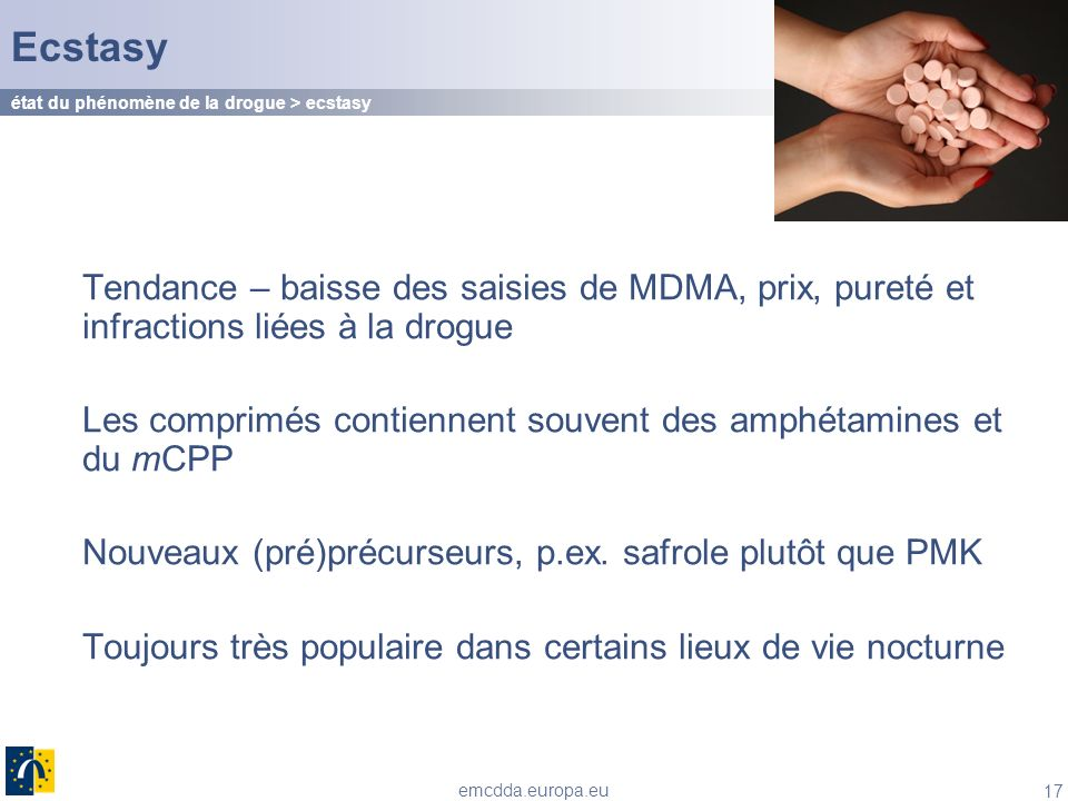 Ecstasy état du phénomène de la drogue > ecstasy. Tendance – baisse des saisies de MDMA, prix, pureté et infractions liées à la drogue.