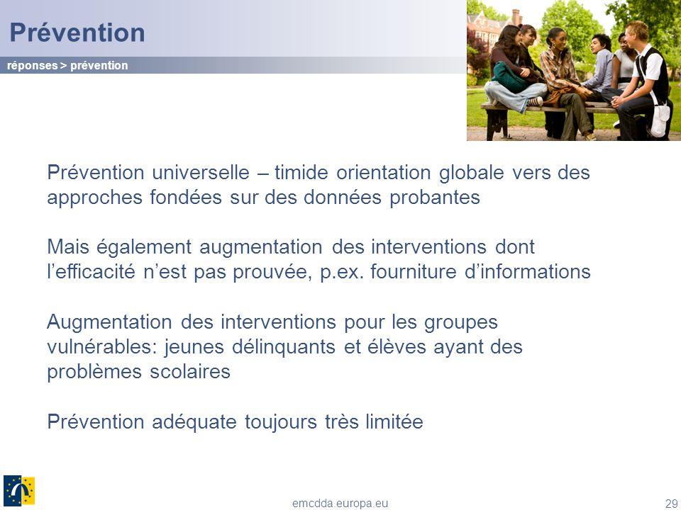 Prévention réponses > prévention. Prévention universelle – timide orientation globale vers des approches fondées sur des données probantes.