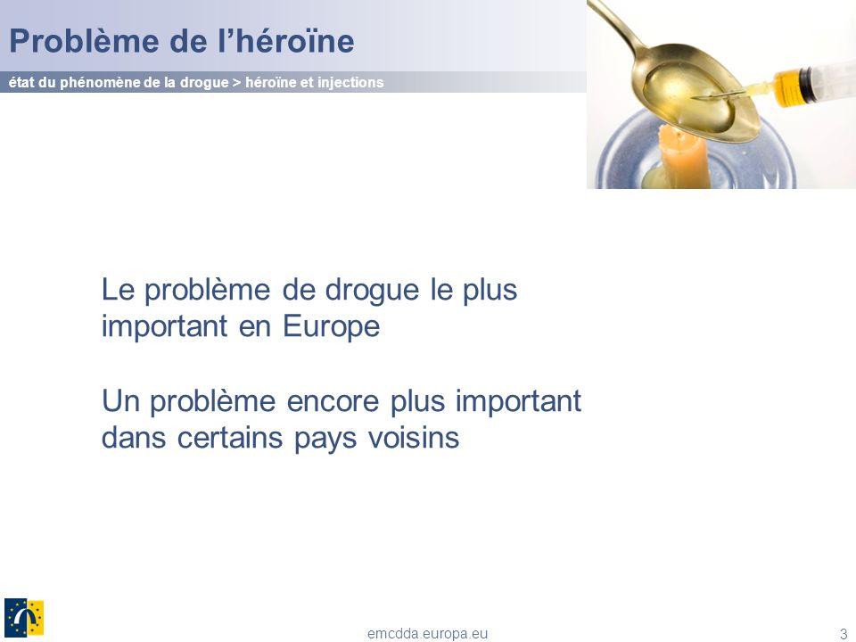 Problème de l'héroïne état du phénomène de la drogue > héroïne et injections. Le problème de drogue le plus important en Europe.