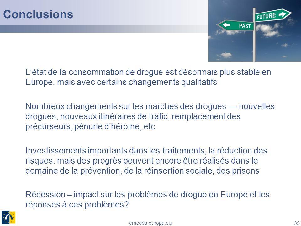 Conclusions L'état de la consommation de drogue est désormais plus stable en Europe, mais avec certains changements qualitatifs.