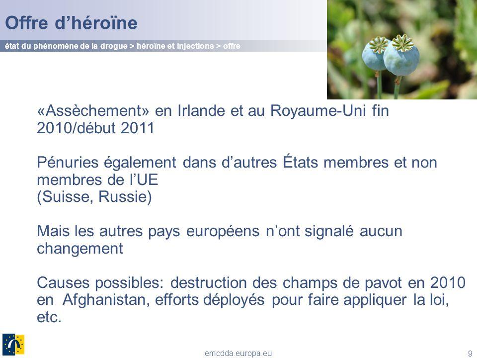 Offre d'héroïne état du phénomène de la drogue > héroïne et injections > offre. «Assèchement» en Irlande et au Royaume-Uni fin 2010/début 2011.