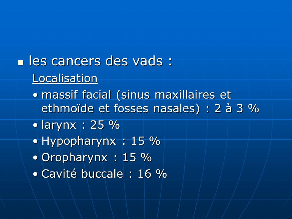 les cancers des vads : Localisation