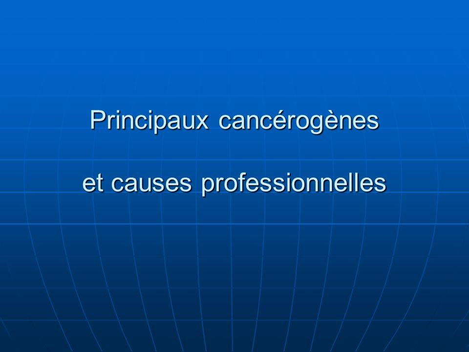Principaux cancérogènes et causes professionnelles