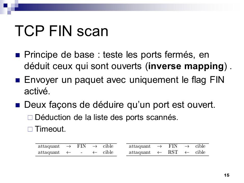 TCP FIN scan Principe de base : teste les ports fermés, en déduit ceux qui sont ouverts (inverse mapping) .