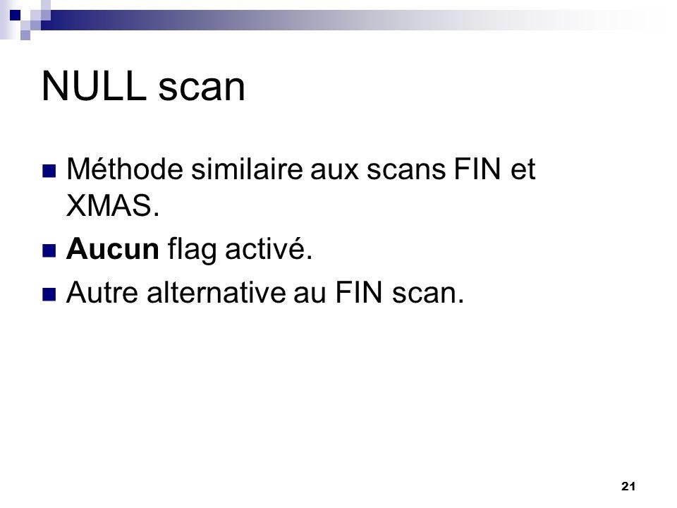 NULL scan Méthode similaire aux scans FIN et XMAS. Aucun flag activé.