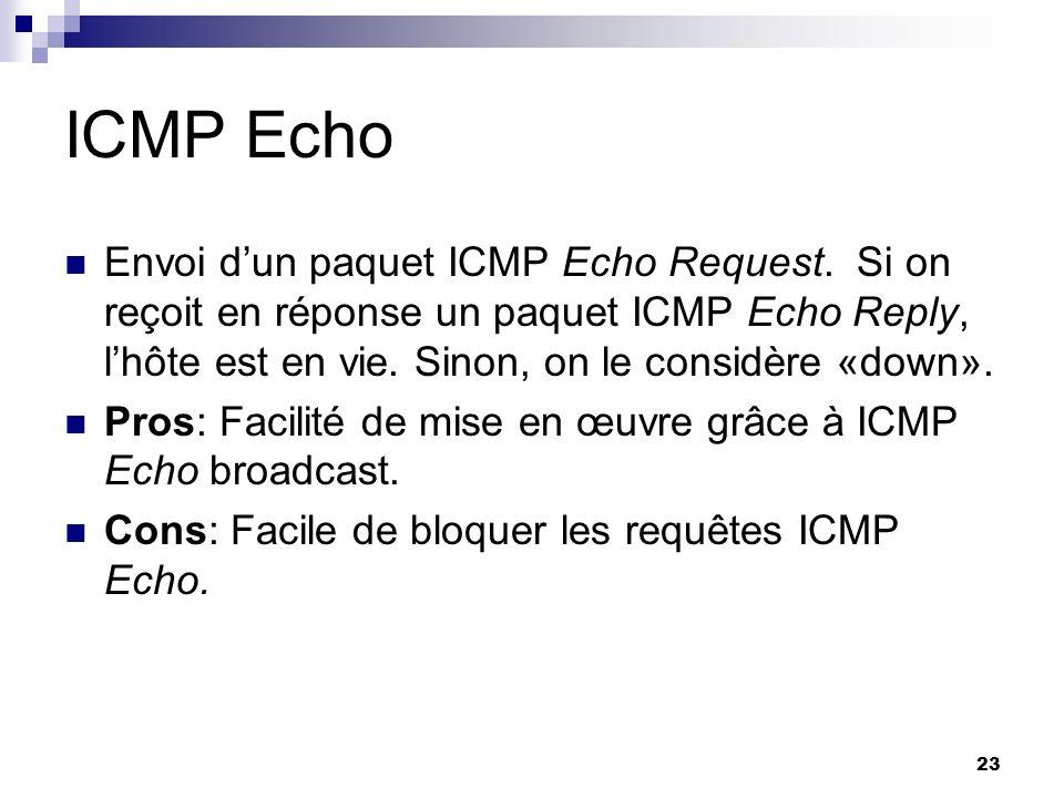 ICMP Echo Envoi d'un paquet ICMP Echo Request. Si on reçoit en réponse un paquet ICMP Echo Reply, l'hôte est en vie. Sinon, on le considère «down».