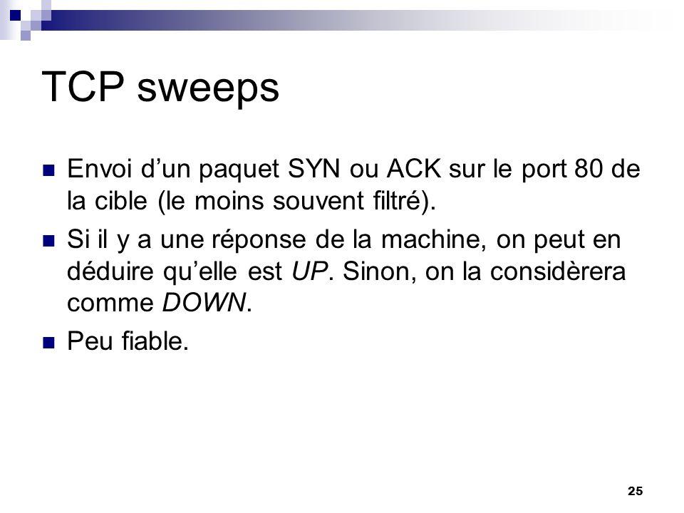 TCP sweeps Envoi d'un paquet SYN ou ACK sur le port 80 de la cible (le moins souvent filtré).