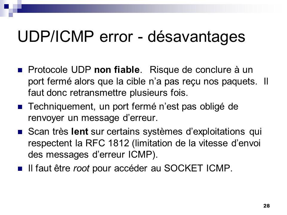 UDP/ICMP error - désavantages