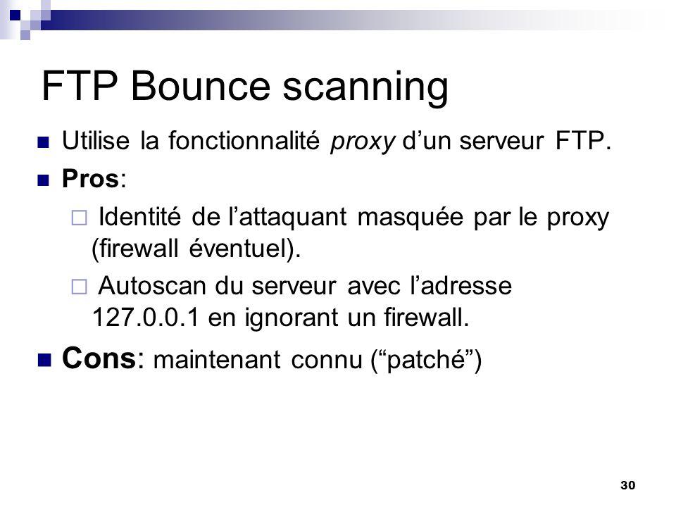 FTP Bounce scanning Cons: maintenant connu ( patché )