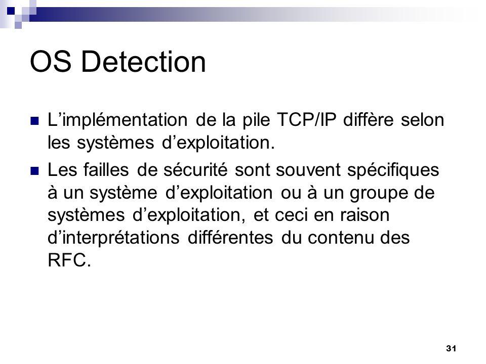 OS Detection L'implémentation de la pile TCP/IP diffère selon les systèmes d'exploitation.
