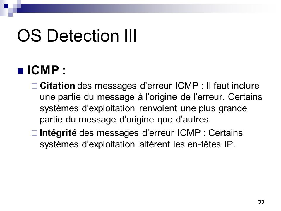 OS Detection III ICMP :