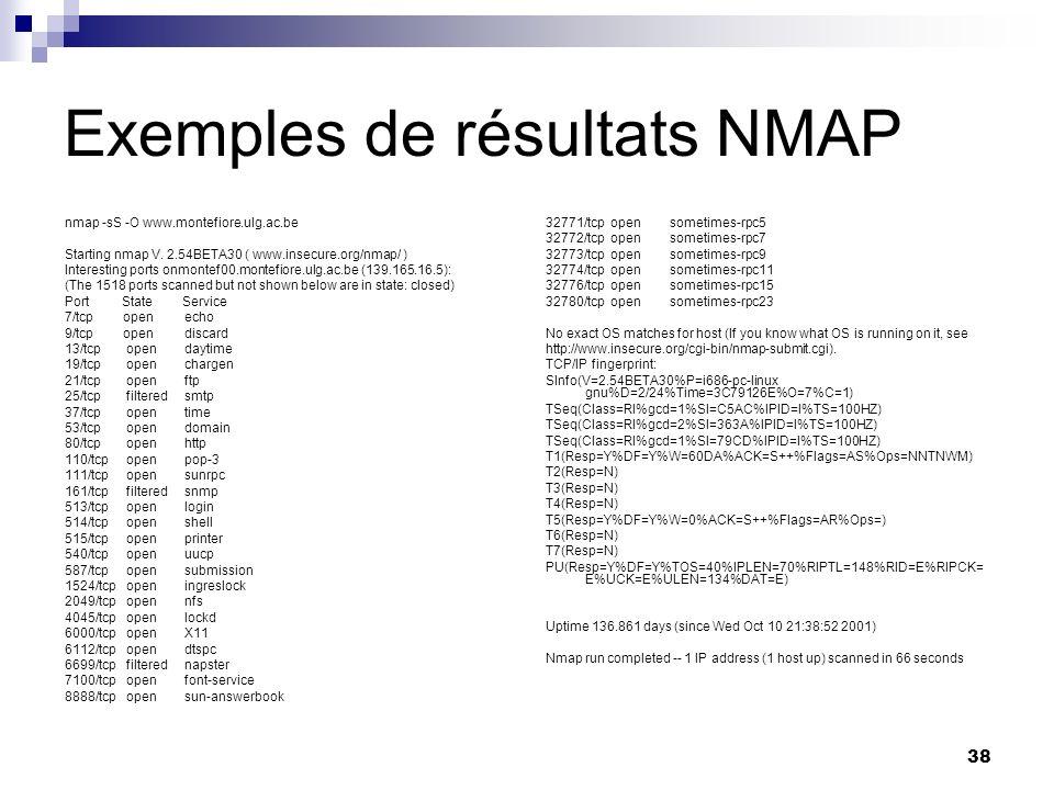 Exemples de résultats NMAP