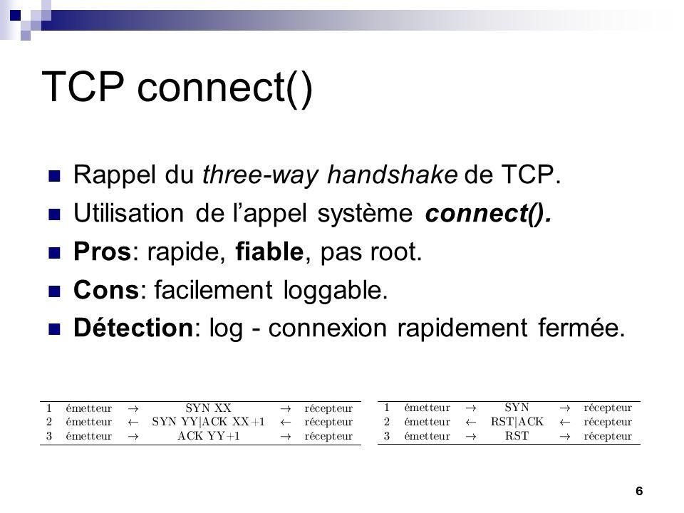 TCP connect() Rappel du three-way handshake de TCP.