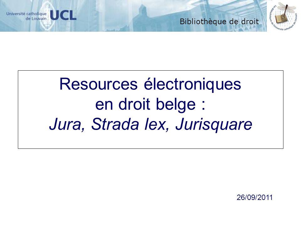 Resources électroniques en droit belge :