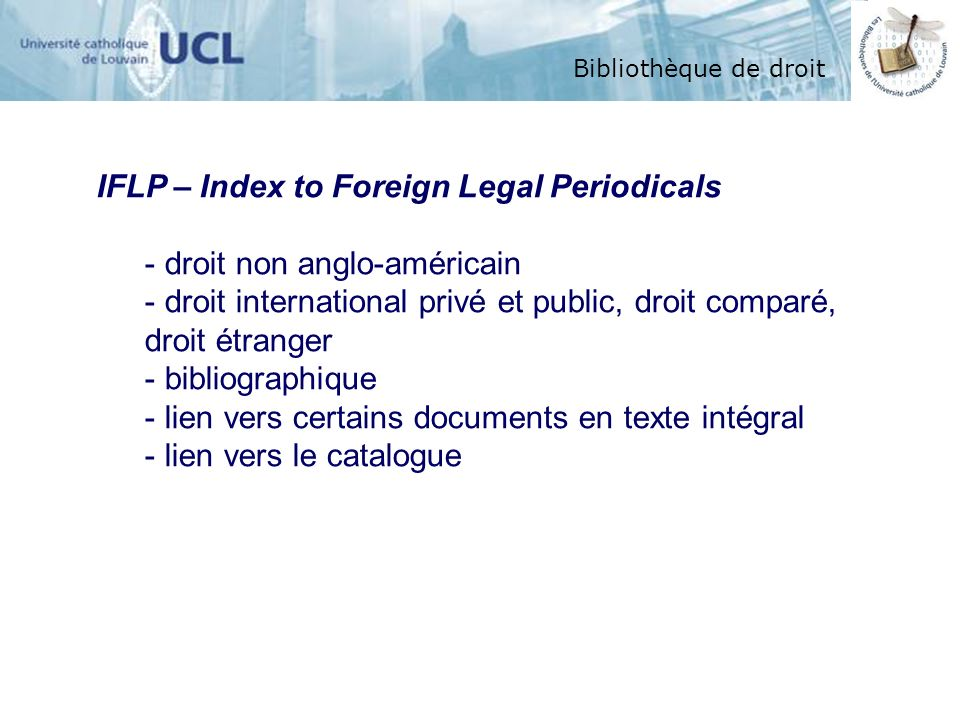 IFLP – Index to Foreign Legal Periodicals