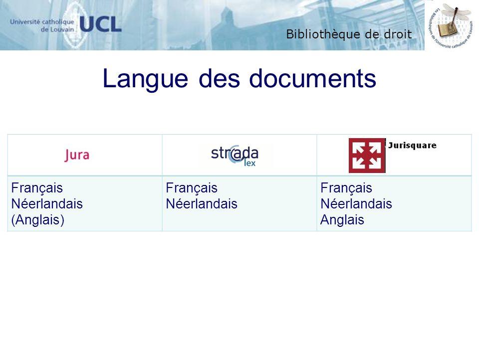 Langue des documents Français Néerlandais (Anglais) Anglais