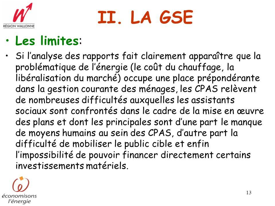 II. LA GSE Les limites:
