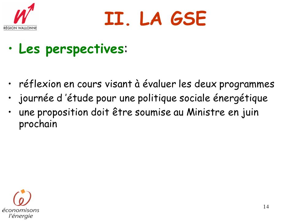 II. LA GSE Les perspectives: