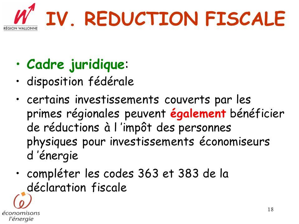 IV. REDUCTION FISCALE Cadre juridique: disposition fédérale