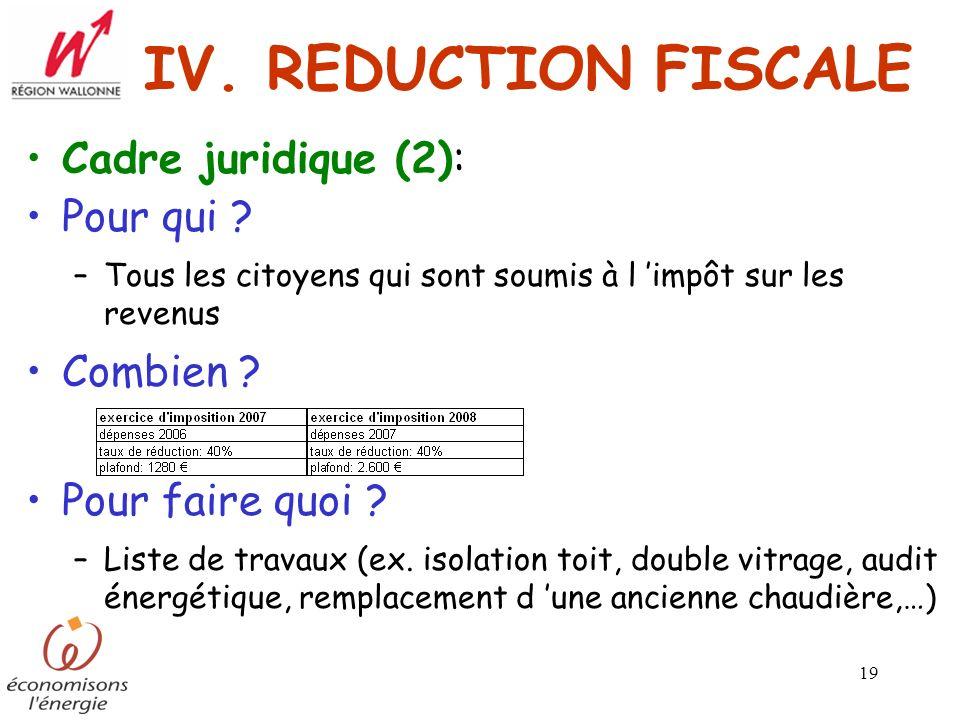 IV. REDUCTION FISCALE Cadre juridique (2): Pour qui Combien