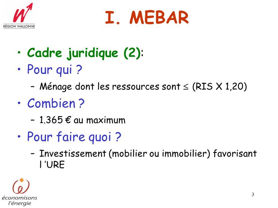I. MEBAR Cadre juridique (2): Pour qui Combien Pour faire quoi