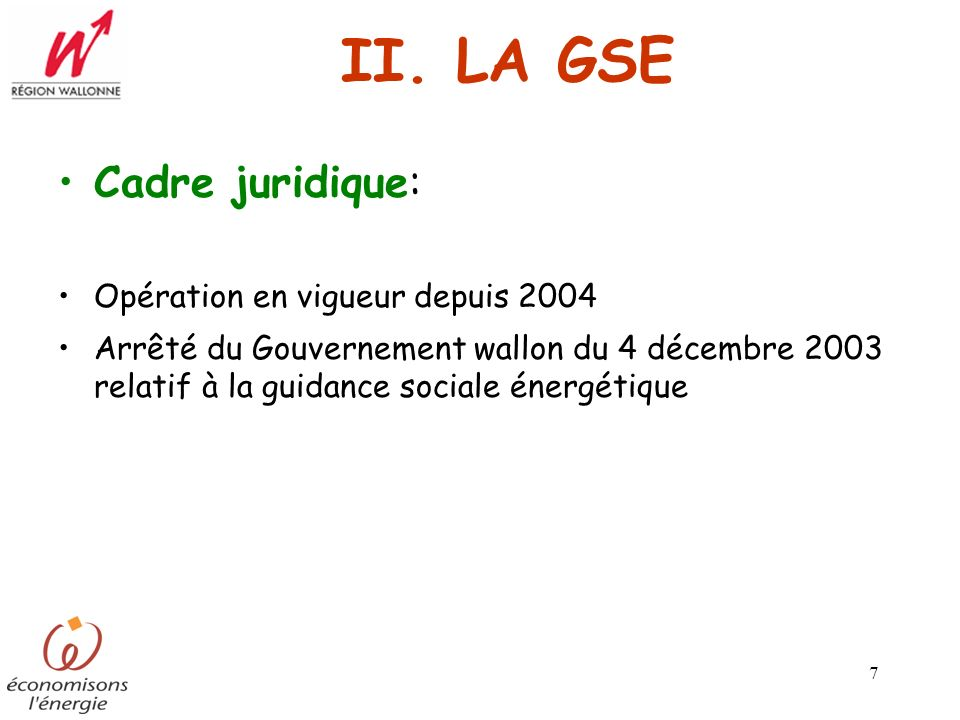 II. LA GSE Cadre juridique: Opération en vigueur depuis 2004