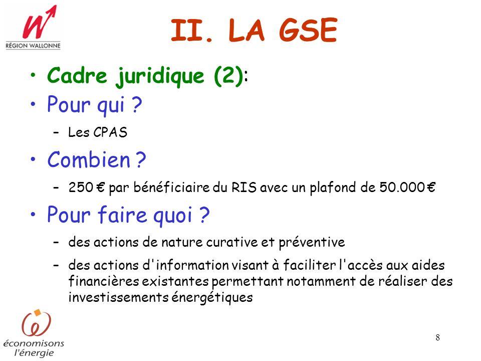 II. LA GSE Cadre juridique (2): Pour qui Combien Pour faire quoi